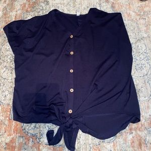 Navy Top with Knot